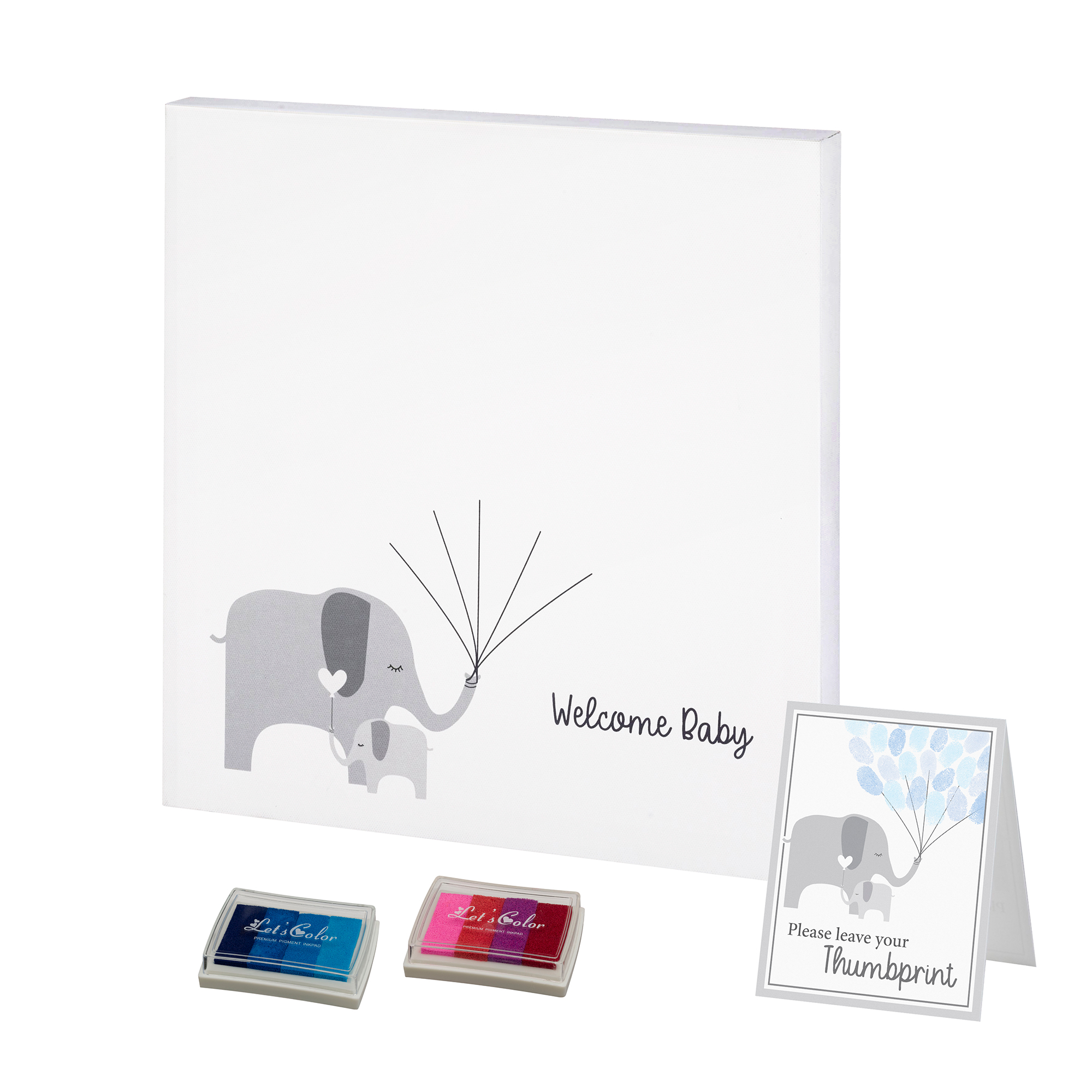 Lillian Rose Baby Elephant Canvas Baby Shower Guest Book Alternative with 2 Ink Pads
