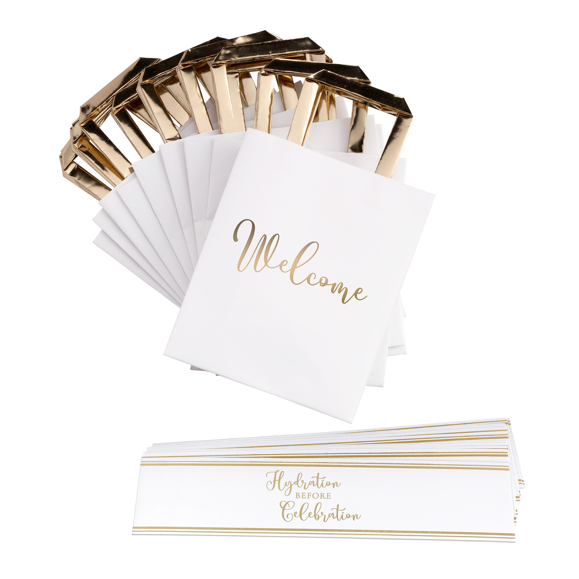 Lillian Rose Gold and White Wedding Welcome Bags with Bottle Wraps Set