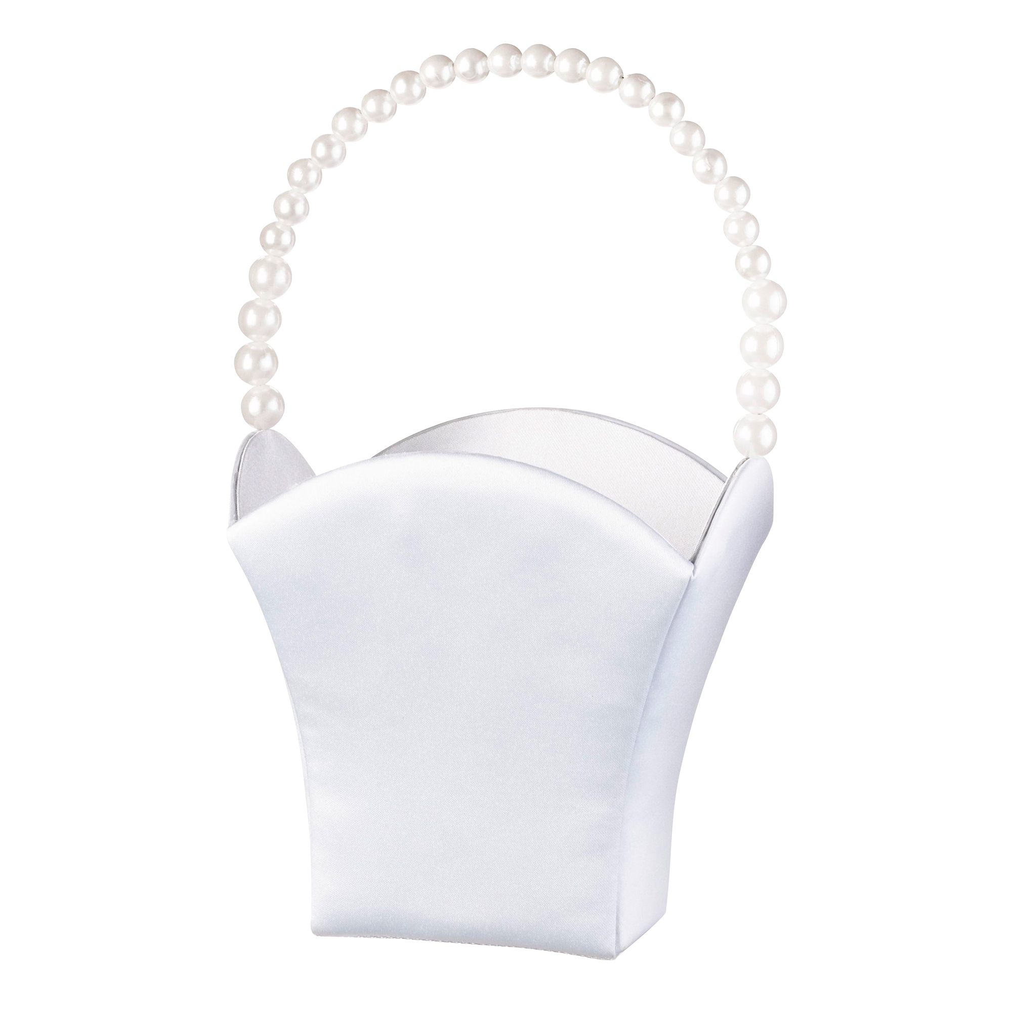 Lillian Rose Unique Pearl Handle Flower Girl Basket in White