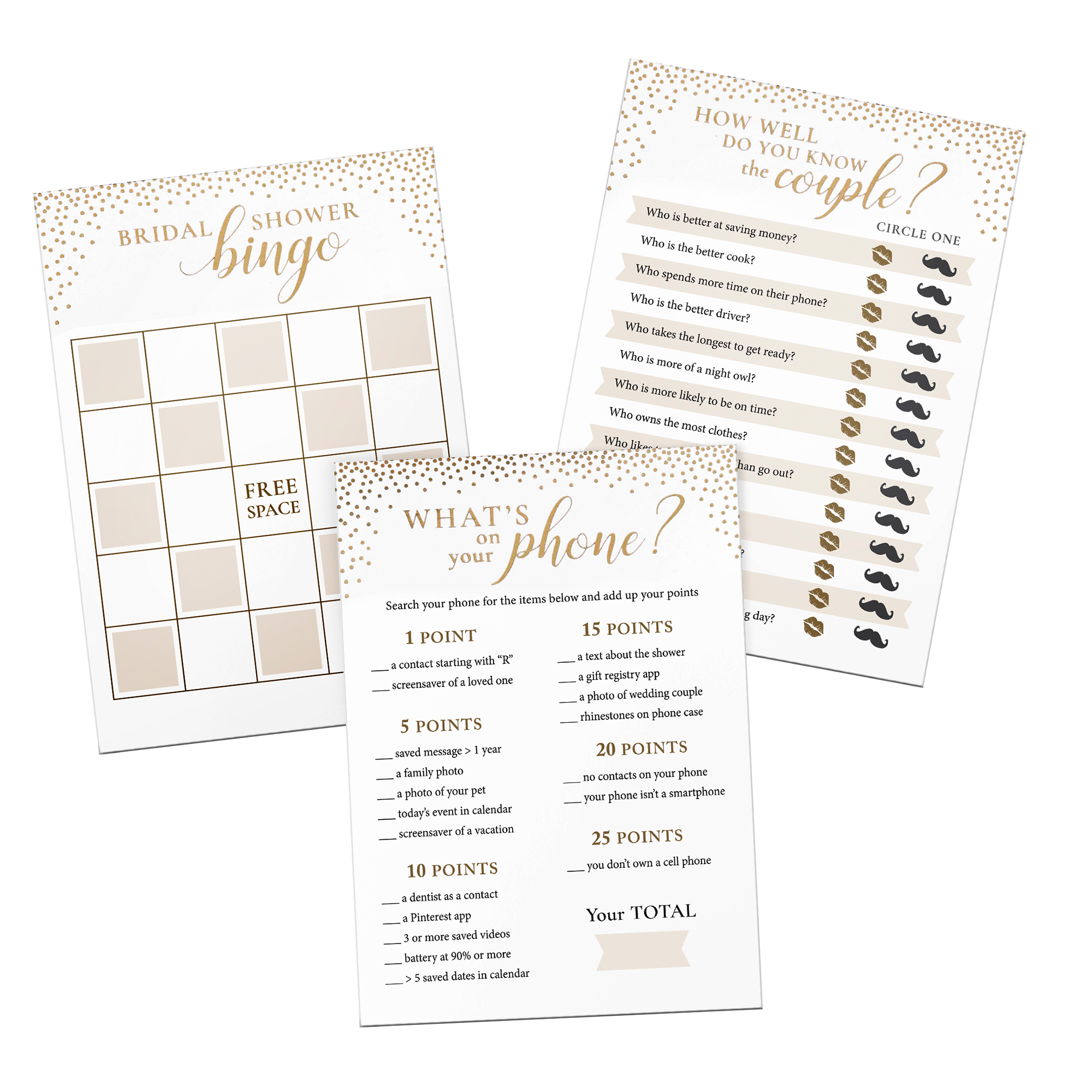 Lillian Rose Gold Confetti Themed 3 Bridal Shower Games for 24 players