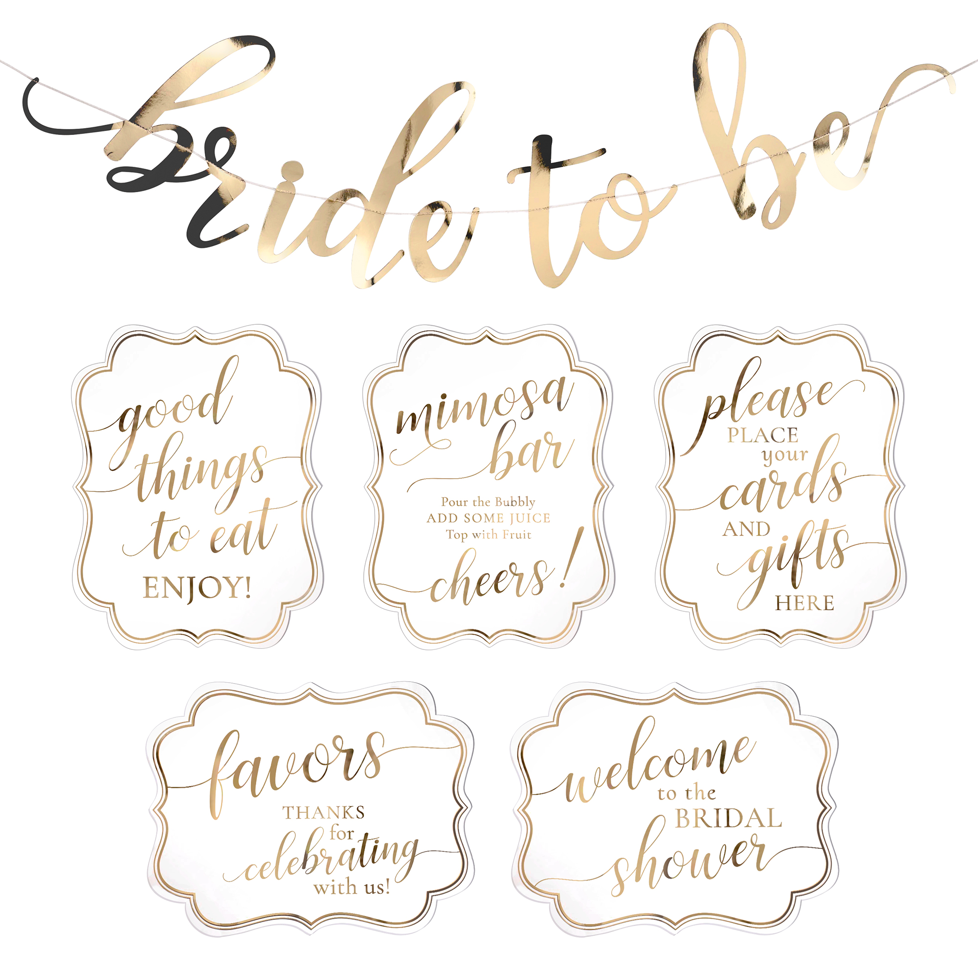 Lillian Rose White and Gold Bridal Shower Signs and Bunting