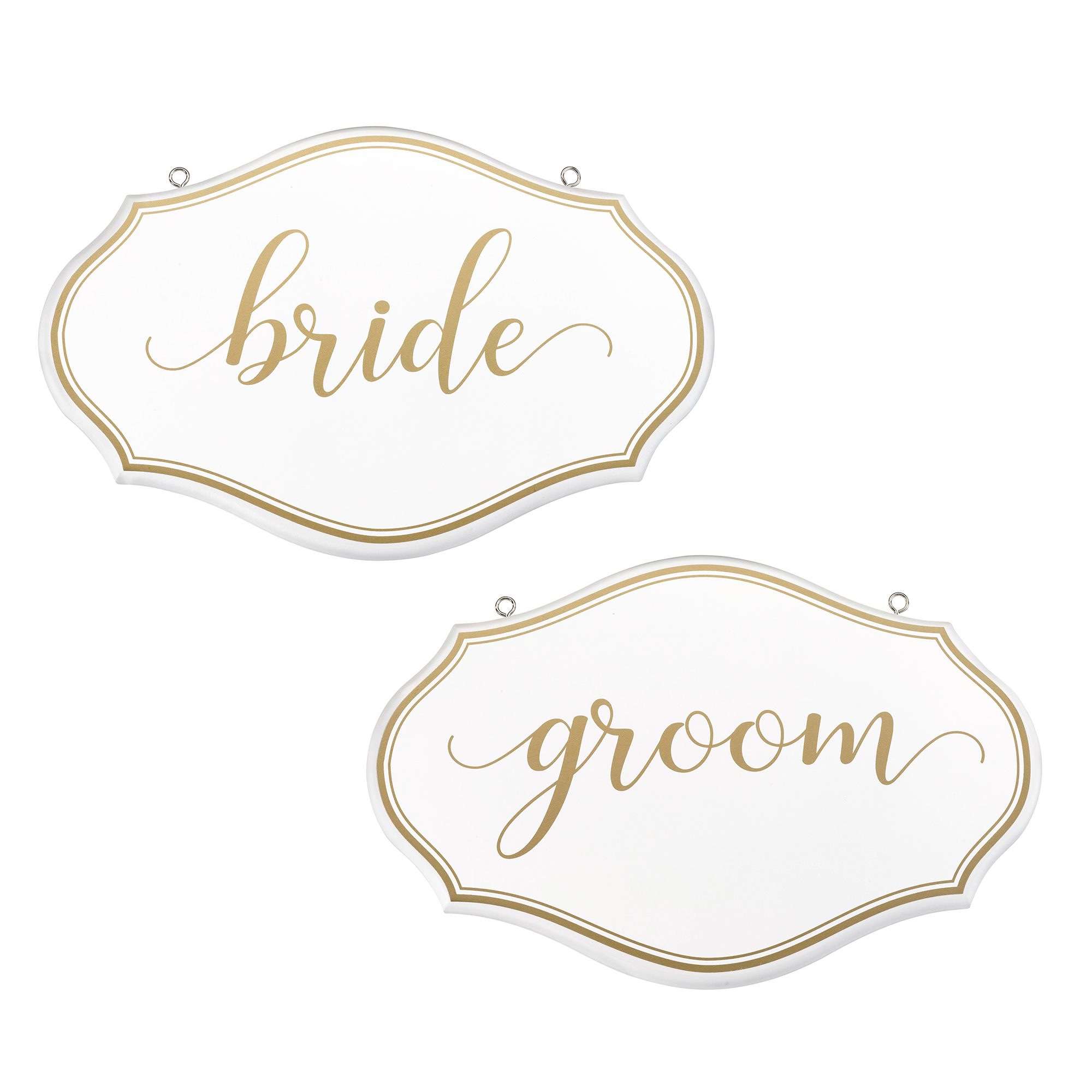 Lillian Rose White and Gold Bride and Groom Chair Signs