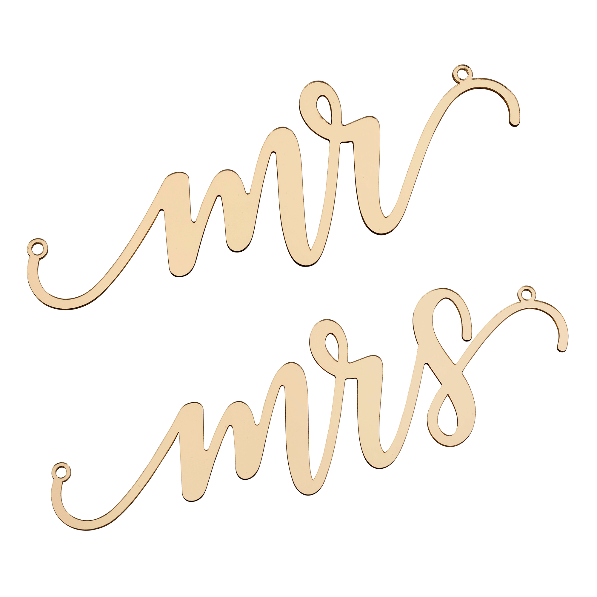 Lillian Rose Gold Laser Cut Mr and Mrs Chair Signs